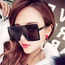 2019 Oversized Sunglasses Women Brand Square Sun Glasses Brown Black P