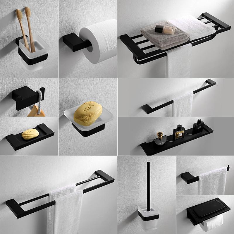 Bathroom Accessories Black Finish Modern Style Bath Hardware Hanger Set Package Towel Rack Bar Brush Paper Holder Shelf Hook Bath Hardware Sets Aliexpress