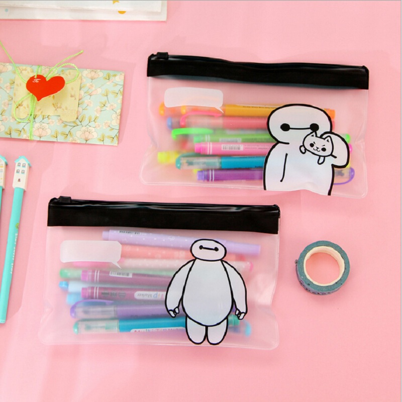 1 PCS Creative Novelty Cute Lovely Big Hero Pencil Pen Bag Translucent Matte Storage Organizer Bag Stationery Bag Student Gift
