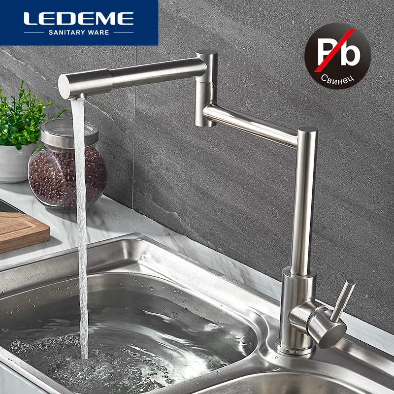 LEDEME Stainless Steel Kitchen Faucet Lead free Folding Mixer 360 Degree Swivel Single Handle Kitchen Sink
