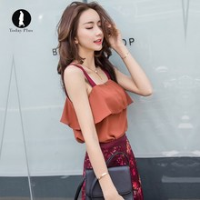 Today Plus 2017New Fashion Women Summer Tops Ruffles Tiered Straps Sleeveless Chiffon Square Neck Solid Tees Ladies Casual Tanks