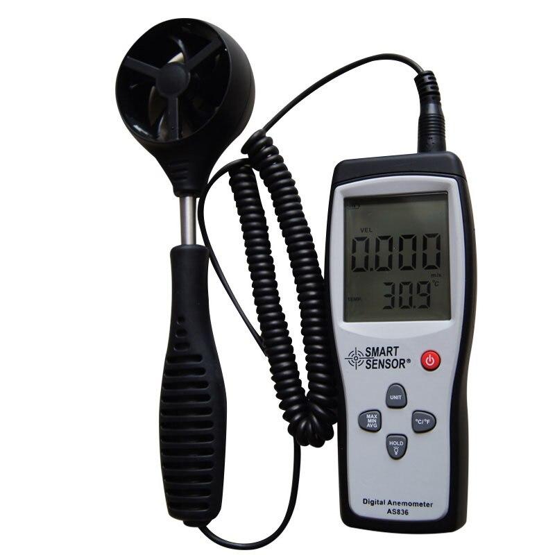 Capteur intelligent AS836 compteur de vitesse du vent numérique anémomètre compteur de vitesse du vent vent direction45m/s température relative - 4