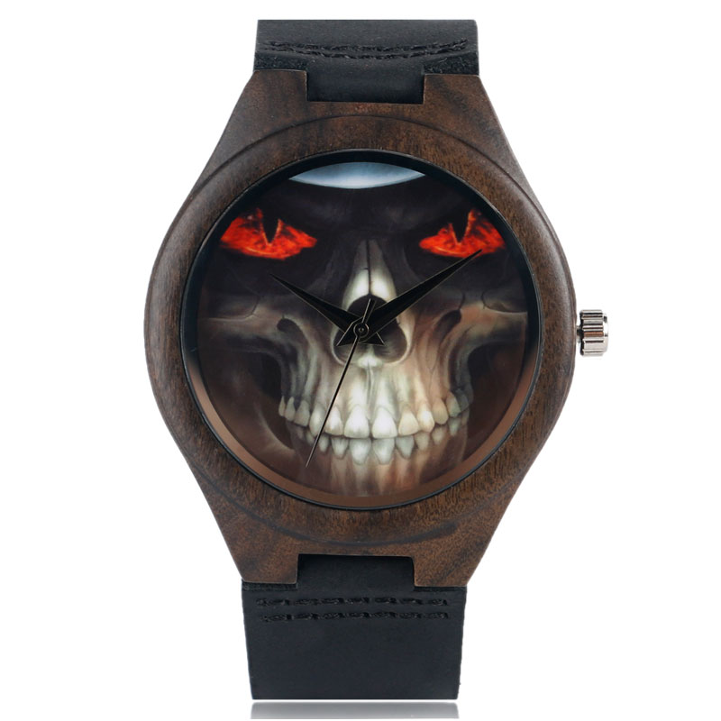 Natural Bamboo Watch Men Women Evil Cool Skull Face Wood Analog Quartz Wristwatches Genuine Leather Strap Unisex Birthday Gifts