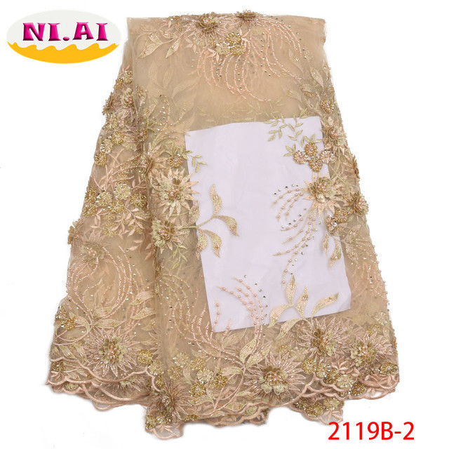 Nigerian Lace Fabrics For Wedding 2018 High Quality African Tulle Lace  Fabric Embroidery 3D Lace Fabric With Beads NA2119B-2 727b02d8f804