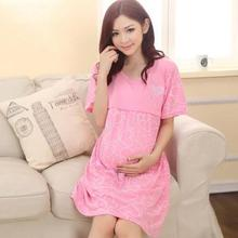 Clothing Summer Nightgown Maternity Dress Month Pregnant Women Maternal Breastfeeding Clothing Home Furnishing Feeding Out