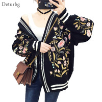 Deturbg Women S Floral Embroidery Cardigans Female Long Sleeve Drop Shoulder Knitted Loose Sweaters 2017 New