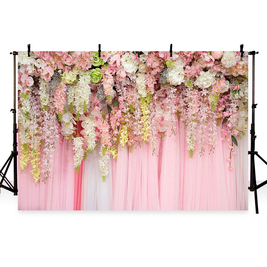 Wedding backdrop flowers wall photography background birthday party baby shower decor banner floral photo backdrop propsG 653 in Background from Consumer Electronics