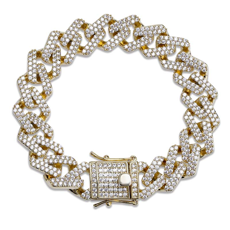 Hip Hop Men Chain Bracelet Copper Link Iced Out Gold/Silver Color Plated Micro Paved AAA CZ Stone 14mm Bracelets Jewelry