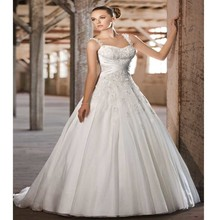 Vestido Noiva Custom Made White/Ivory Satin Beading Applique Spaghetti Straps Lace Wedding Dress Robe De Mariage