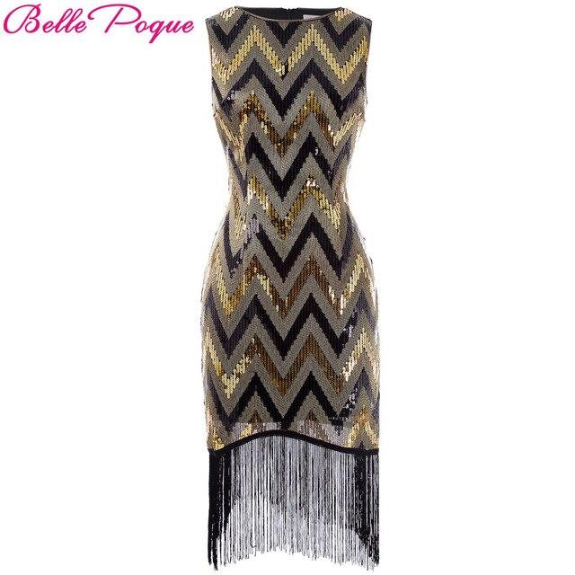 Belle poque Для женщин лето vestido Flapper 20 s Вечеринка Винтаж Gatsby платье с золотыми блестками большой Размеры Сексуальная Карандаш Bodycon Платья для женщин