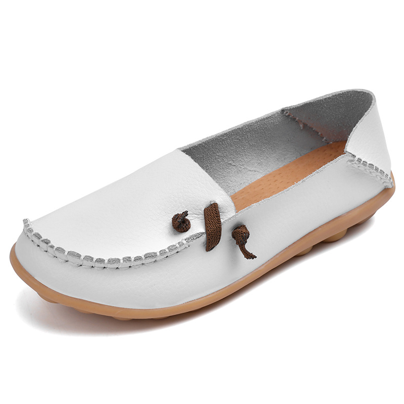Women Shoes Moccasins Loafers Slip On Round-Toe Genuine-Leather Casual Nurse New-Fashion