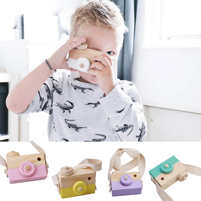 Hot Selling Wooden Camera Kids Toy Baby Gift Children Wood Neck Decor Room Photography -17
