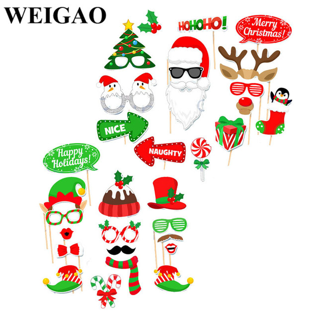 weigao christmas decorations photo booth props merry christmas party photobooth props snowman santa claus elk event