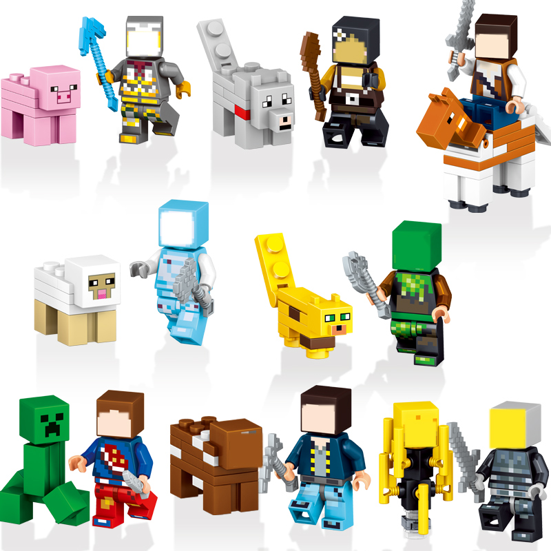 8set/lot My World Zombie Steve Enderman DIY Building Block Action Figures MinecraftED Compatible Legoed toys Boy birthday gift 8pcs my world minecraft legoelieds steve creeper skeleton zombie pigman snow golem enderman minifigures building blocks toy gift page 3