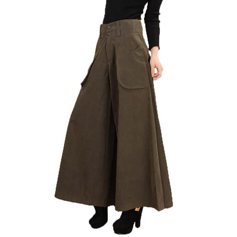 Plus size summer Women Wide Leg Dress Pants vintage Female Casual solid Skirt Trousers Loose 50s Capris Culottes Pocket KL178