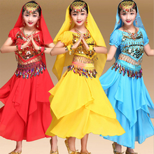 New Kids Children Belly Dance Costumes Girls Indian Dancing Bollywood Performance Dancewear Clothing 2Set