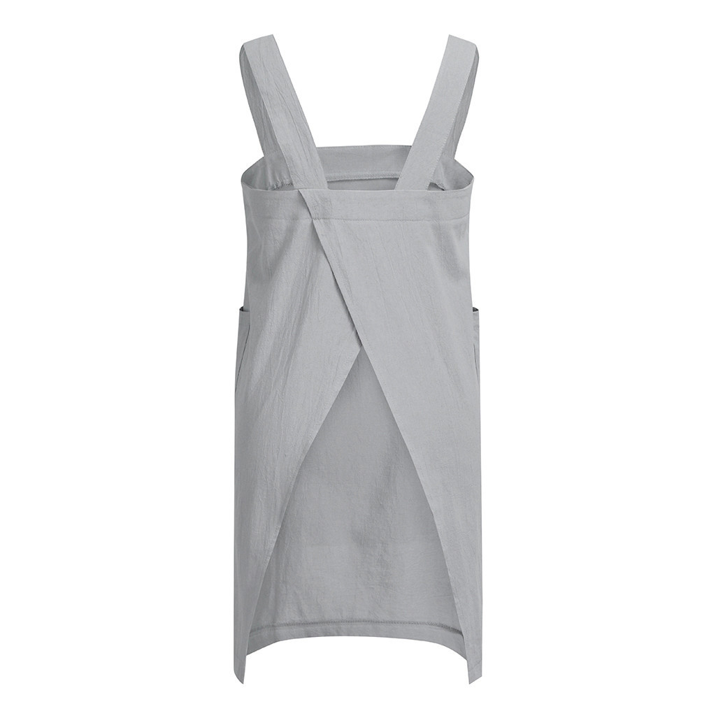 Casual Women Dress Cotton Linen Pinafore Square Cross Strap Skirt with Pocket Apron Garden Work Pinafore
