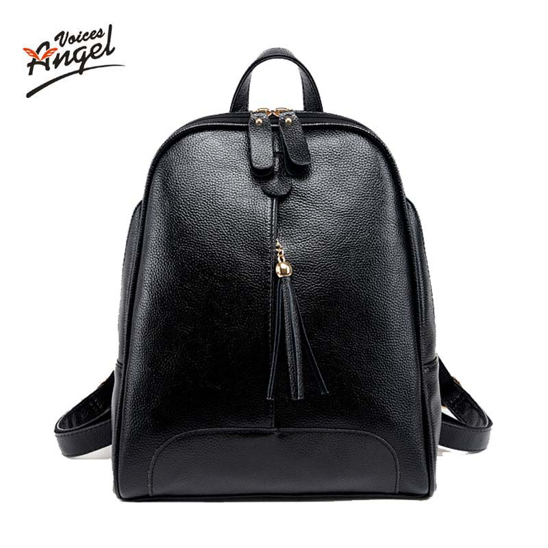 Angel Voices Brand Cowhide Backpack Women 2017 New Fashion Simple Style Genuine Leather Ladies Multifunctio School Bags Red Blue steve cockram 5 voices