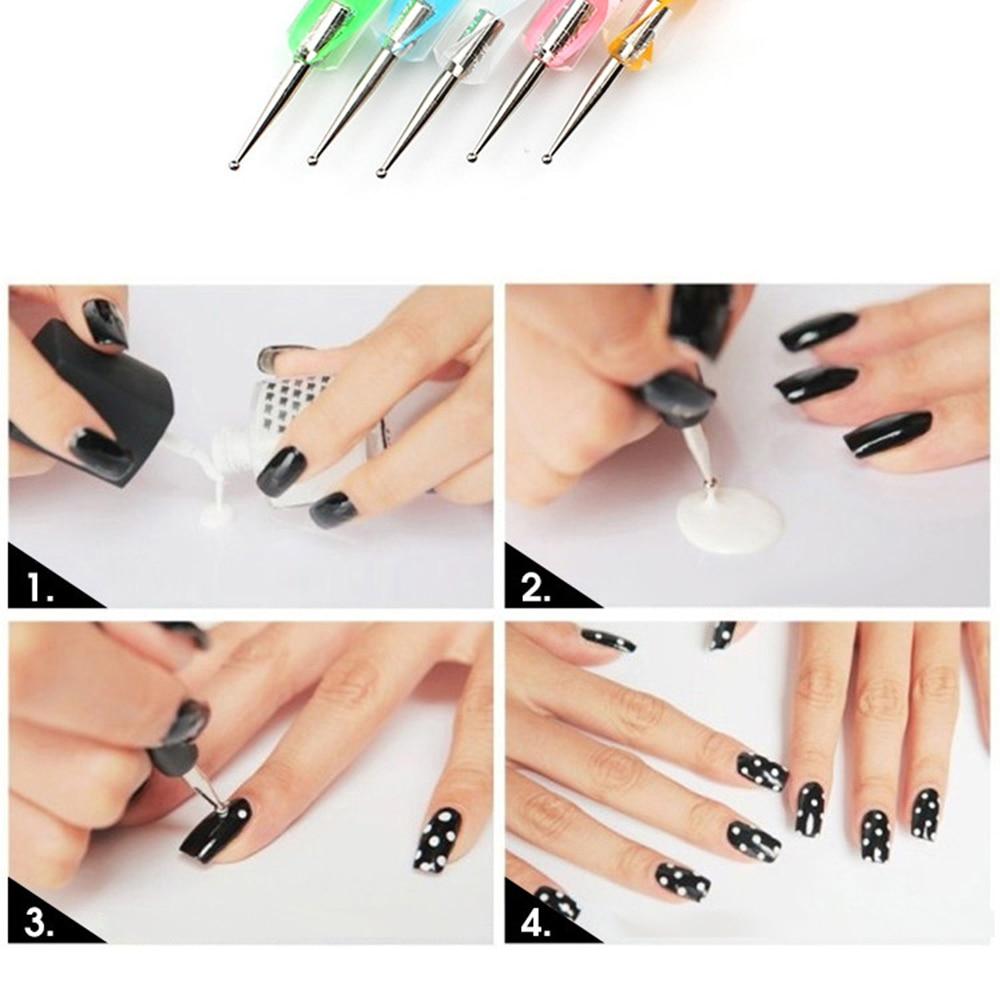 Pinkiou 5Pcs 2 Way Dotting Pens Marbling Tool Nail Art Doting Device ...