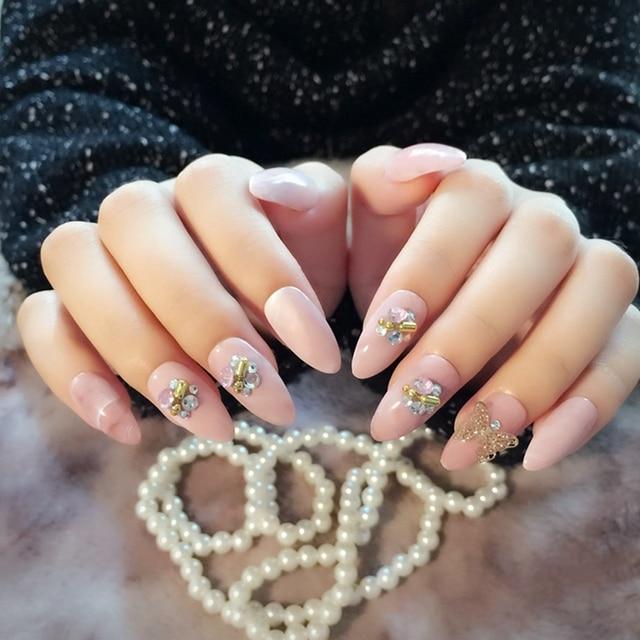24pcs/kit Oval Head Pink Marble Press On Nails 3D Rivet Butterfly ...