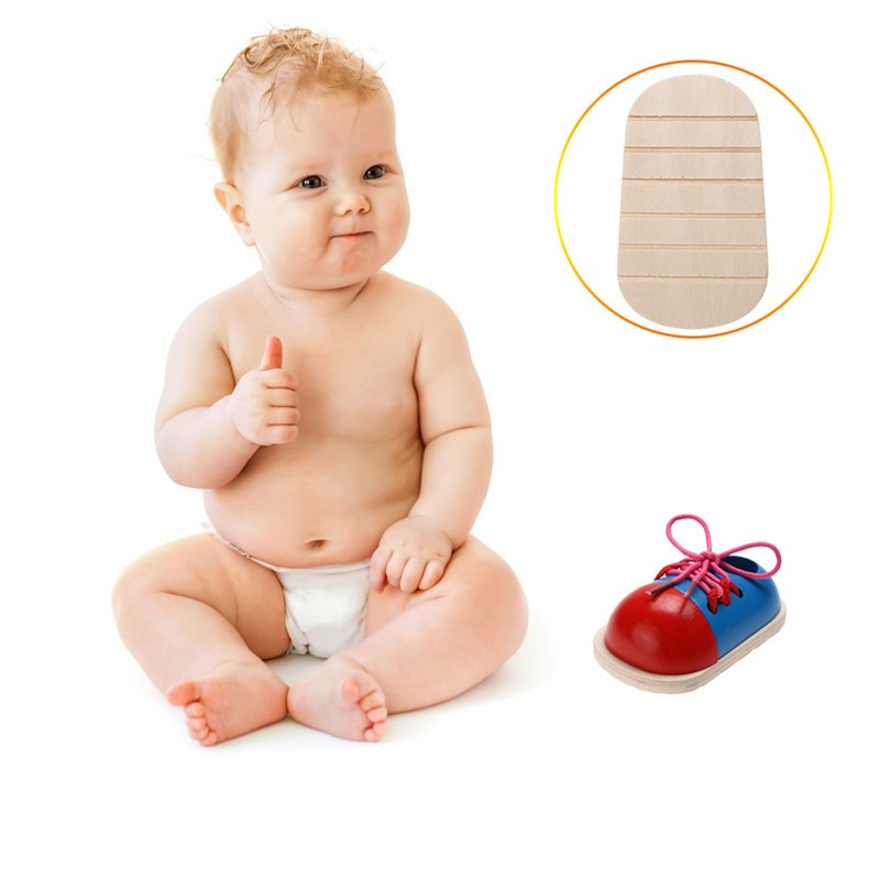 1pc Kids Montessori Educational Toys Children Wooden Toys Toddler Kids Lacing Shoes Early Learning Toy Montessori Teaching Aids 3