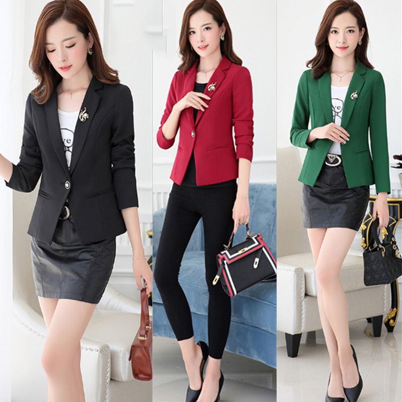LANLOJER חדש קוריאני בלייזר גבירותיי ארוך שרוול ללבוש מזדמנים נקבה להאריך ימים יותר קצר סגנון Slim כפתור אחד חליפת סתיו מעיל 862