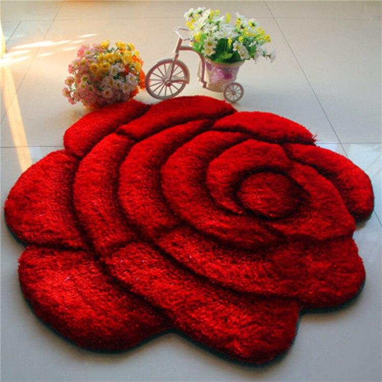 Livraison directe Rose fleur forme tapis pour salon tapete canapé Table tapis de sol chambre maison mariage décoration taille de lit tapis