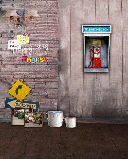Photophone old telephone box photo backgrounds fairyland vinyl photography backdrops for photo studio  backgrounds CM-5261