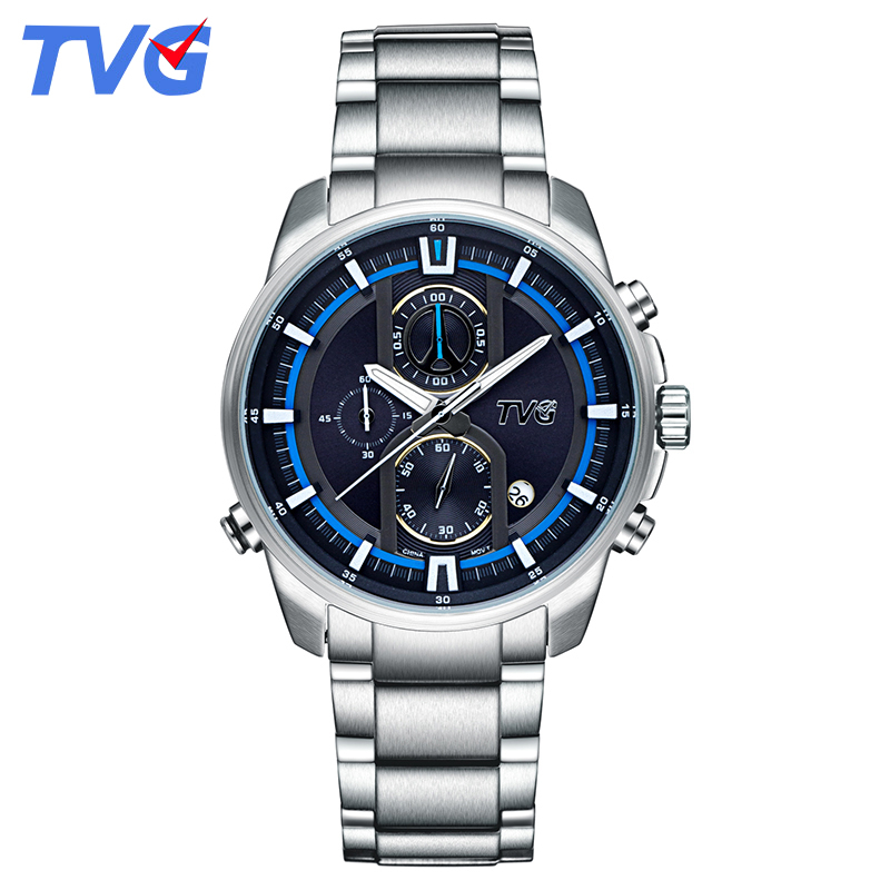 TVG luxury watch men 2018 Mens Watch male clock Stainless Steel Strap Sport Watches Date Day Week Display Casual with watch box wwoor business dress wrist watch men modern date week display stainless steel band mens watches classic luminous male clock gift