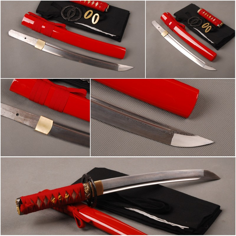 Fully Handmade Folded Steel Japanese Tanto Full Tang Samurai Sword Sharp Girls Can Carry around as