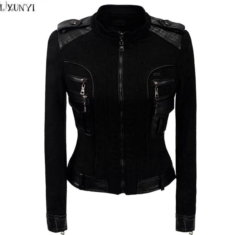 LXUNYI 2019 Autumn Winter New Korean   Suede   Coat Women Black Slim Short Faux   Leather   Motorcycle jacket Fashion Ladies   Suede   Coats