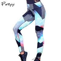 Pureyiyi 2017 Fitness Leggings Frauen Blau Leggins Plaid Print Workout Hosen Push Up Hohe Taille Sexy leggings Abenteuer Zeit