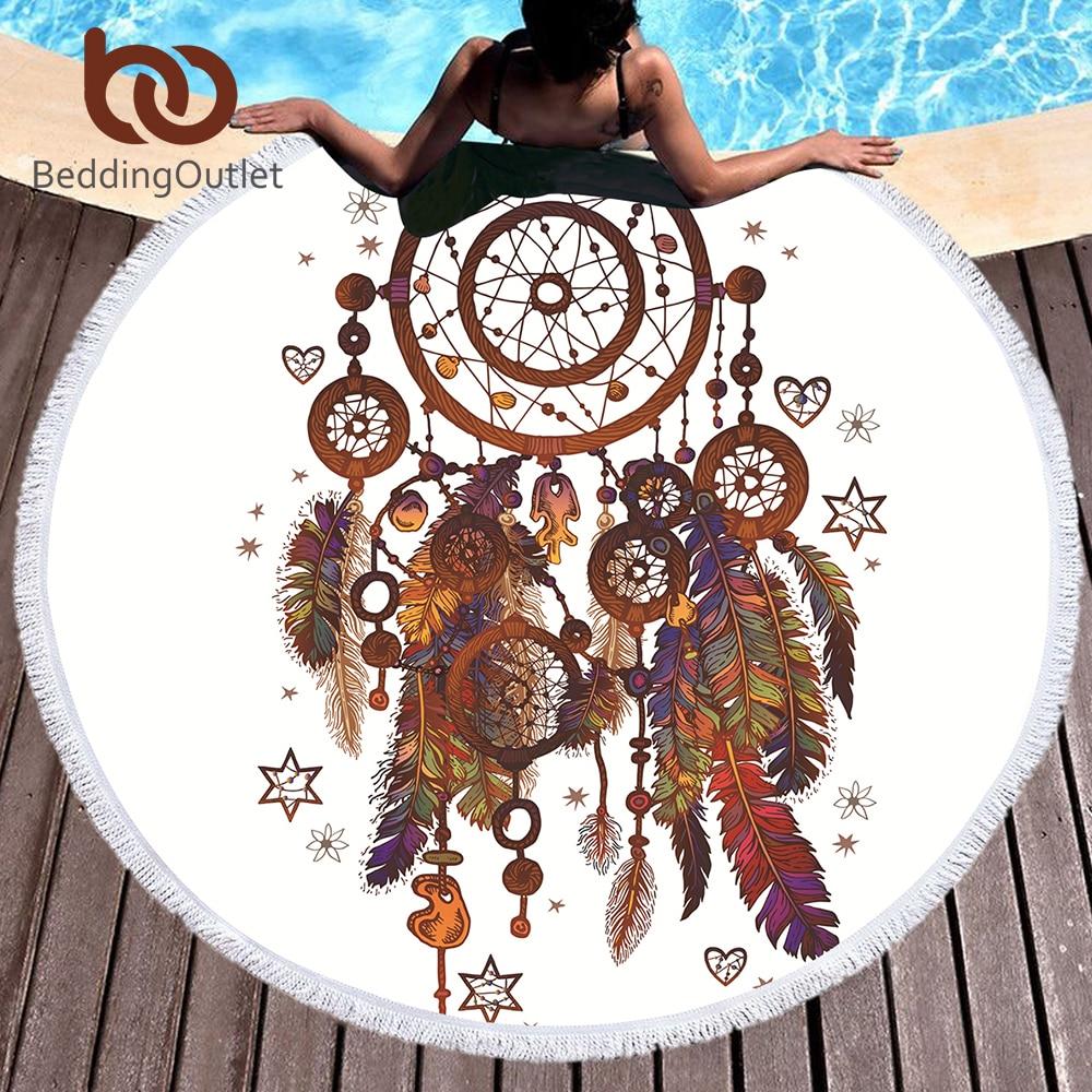 BeddingOutlet Hipster Watercolor Tassel Mandala Tapestry Round Beach Towel Dreamcatcher Toalla Sunblock Blanket Yoga Mat