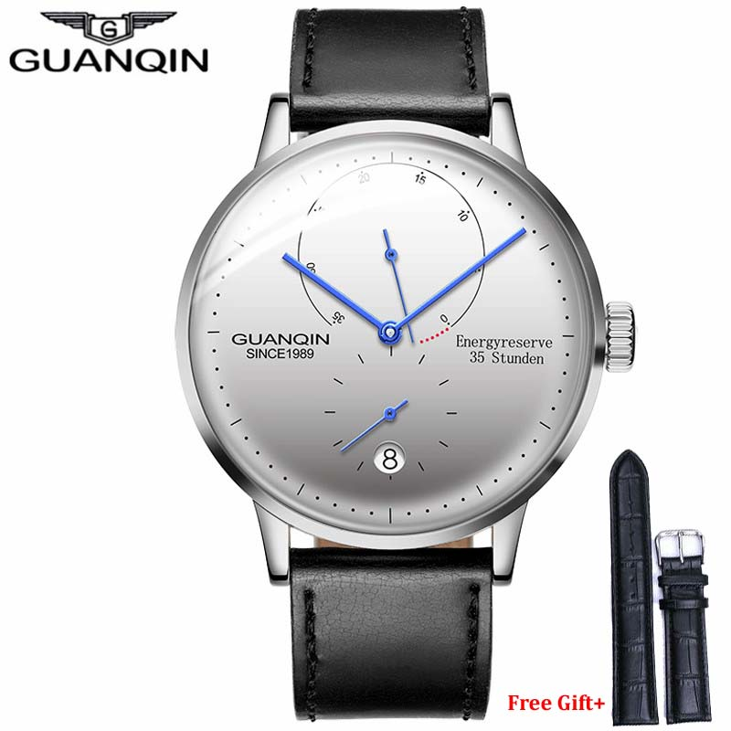 GUANQIN Men watches top brand luxury Automatic Mechanical Watch Casual leather strap sapphire waterproof Analog Wristwatch Mens