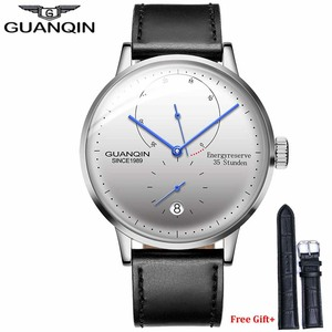 Image 1 - GUANQIN Men watches top brand luxury Watch Casual leather strap sapphire waterproof Analog Automatic Mechanical Wristwatch Mens