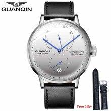 Guanqin男性トップブランドの高級カジュアル革ストラップサファイア防水アナログ自動機械式腕時計メンズ