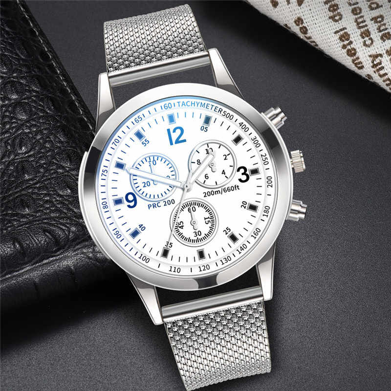 Men Luxury Quartz Watch Stainless Steel Dial Casual Bracele Wrist Watches alloy reloj hombre 2019 male clock black silver 20mm