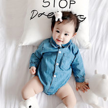 NEW Denim Baby Girls Ruffle Sleeve Romper Boy Shirts-Romper Twins Costume Long Sleeve Trendy Kids Infant Solid Rompers Clothes(China)