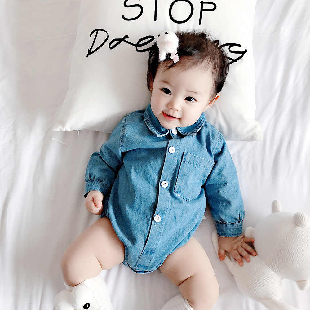 3fe97abcca2be NEW Denim Baby Girls Ruffle Sleeve Romper Boy Shirts-Romper Twins Costume  Long Sleeve Trendy Kids Infant Solid Rompers Clothes