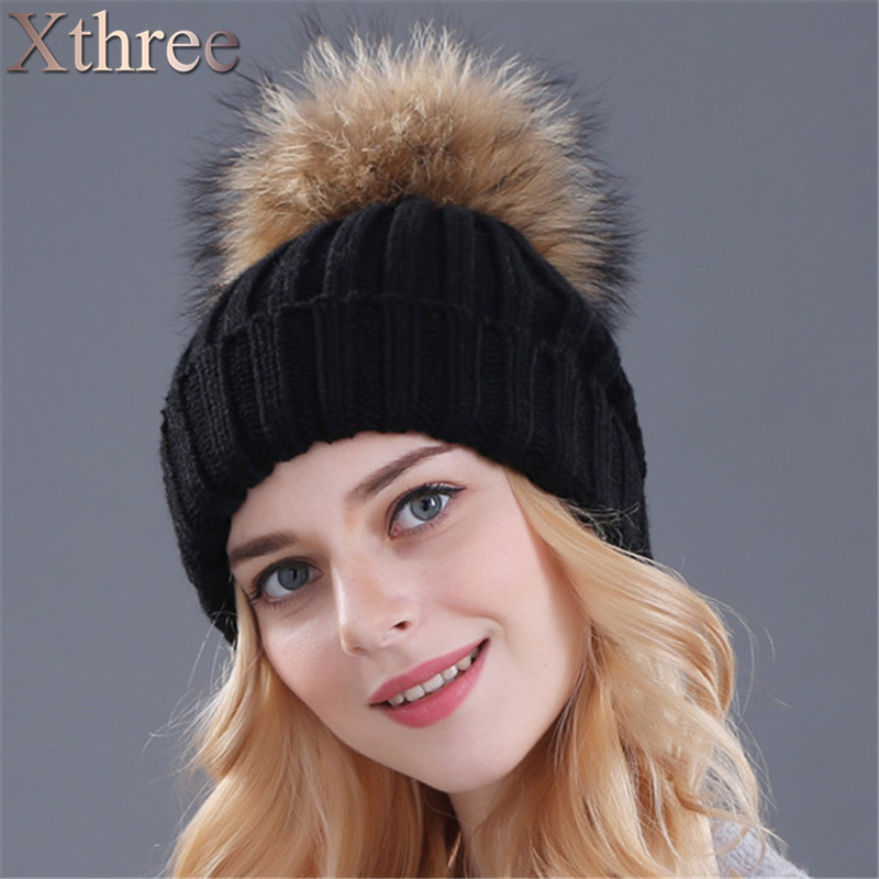 Xthree mink and fox fur ball cap pom poms winter hat for women girl  s hat  knitted beanies cap brand new thick female cap ebc31511d1bf
