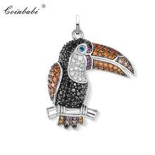 Wisiorek tukan ptaki cyrkonia dla kobiet moda biżuteria 925 srebrny prezent styl europejski moda wisiorek Fit naszyjnik