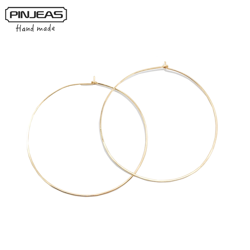 PINJEAS Hoop Earrings handmade Big Wire Simple fashion basketball Large Thin Earrings For Women Jewelry accessories