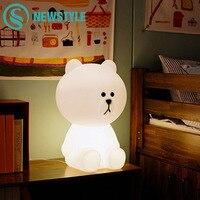50cm Brown Bear LED Night Light Rechargeable Children Bedroom Night Lamp For Baby Kids Christmas Gift