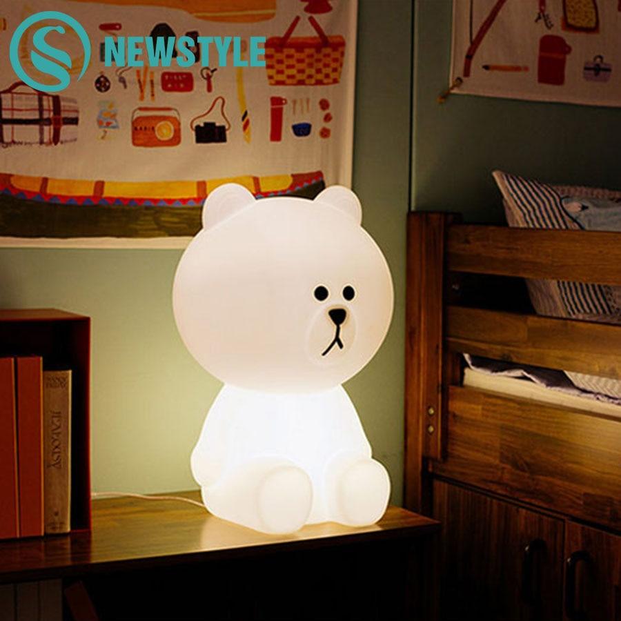 50cm Brown Bear LED Night Light Rechargeable Children Bedroom Night Lamp for Baby Kids Christmas Gift EU/US Plug