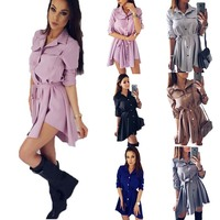 Irregular Tie Waist Shirt Dress Women Autumn 2017 Wrap Dress Long Sleeve Turn Down Collar Short