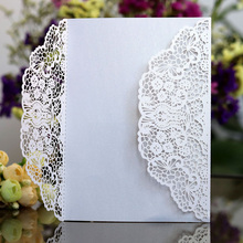 100pcs Rose Laser Cut Wedding Invitations Card Cute Elegant Lace Business Greeting Cards Birthday Party Favor Decoration