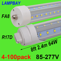 4 100pcs LED Tube Lights V Shaped 270 Angel Bulb 8 feet 2.4m 48W 64W FA8 R17D(HO) T8 T10 T12 F96 Fluorescent Lamp Super Bright