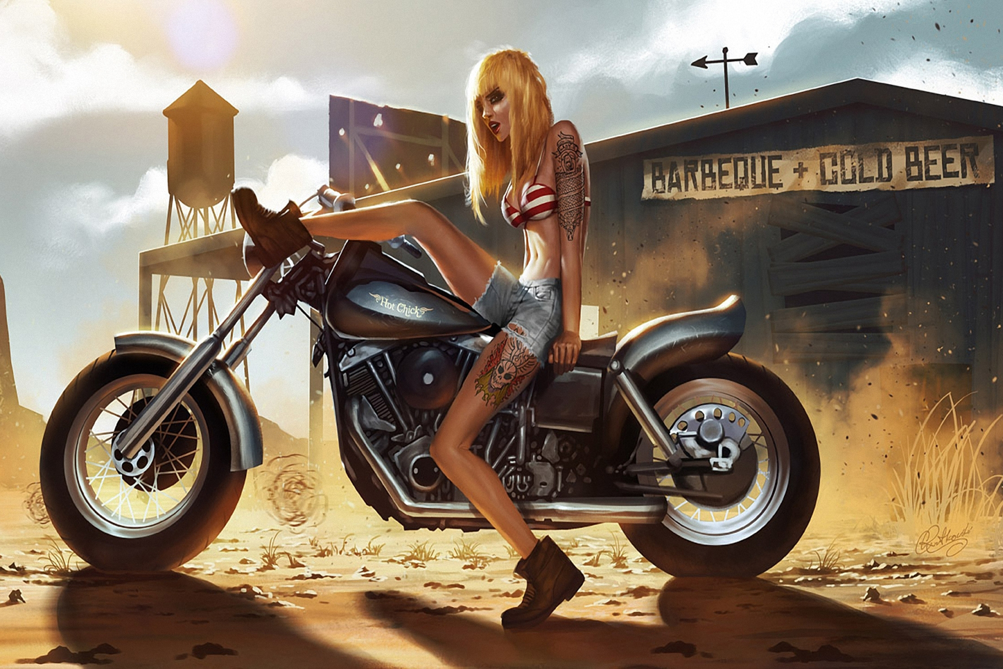 Motorcycle with biker tattoo - Home Decoration Art Girl Motorcycle Tattoo Dust Sand Anger Women Females Sexy Babes Mood Biker Silk