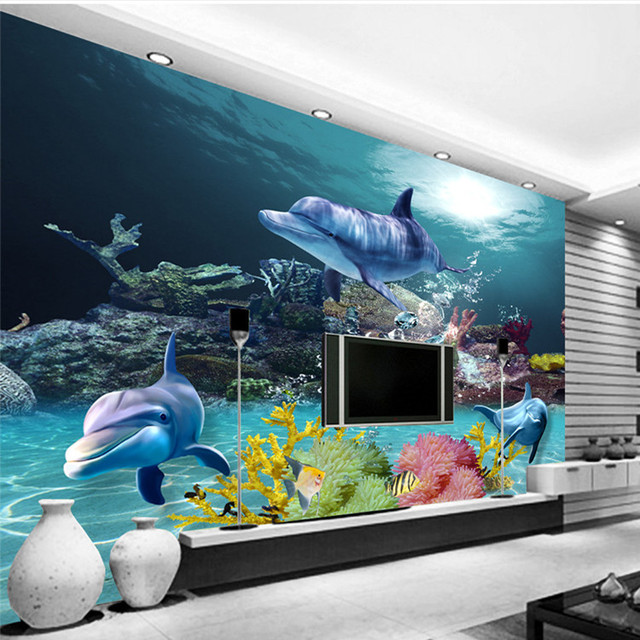 Custom 3D Wallpaper Underwater World Photo Wallpaper Ocean Wall Murals Kids  Bedroom Nursery Shop Wedding Home