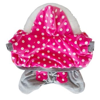 цена New pattern pet clothing winter warm pet dog jacket puppy dog coat fashion dog hooded coat for pet Dog Rose dot pet clothes S-XL онлайн в 2017 году
